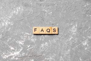 FAQs spelled out in block letters